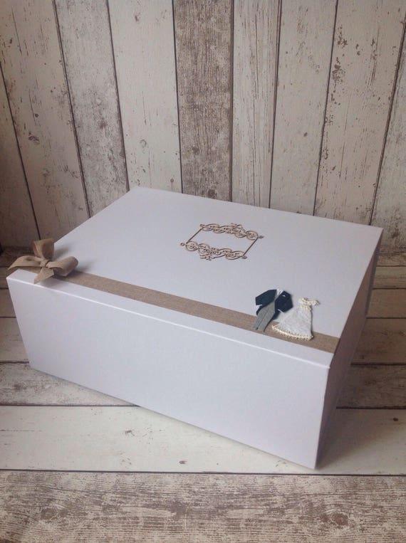 EXTRA LARGE wedding keepsake box matt white with magnetic