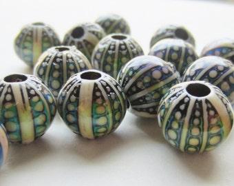 Mood Bead Mirage Bead Polymer Clay Bead Heat Sensitive Round Bead Sea Urchin 11mm x 11mm Qty 1