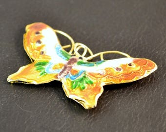 "X 1 gorgeous charm ""Butterfly"" dark gold, cloisonné, 3.5 x5.5 cm"