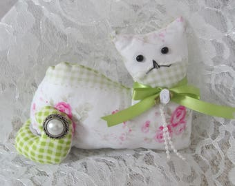 Cat Shelf Sitter, Stuffed Cat, Collectible Cat, Handmade Fabric Cat, Rose Cottage Cat, Cat Lover Gift, Cat Doll, Folk Art