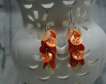 "Earrings ""Knopfvoll red orange"""