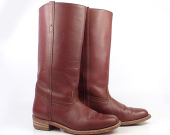 Frye Riding Boots Vintage 1980s whiskey Brown Leather Boots Flat Women's size 8 AA