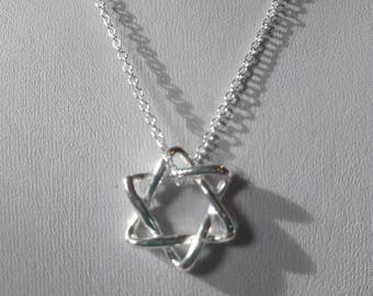 Star of David pendant necklace sterling silver