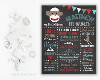 First Birthday Chalkboard Poster, First Birthday Milestone Chalkboard, Printable Chalkboard Poster, Sock Monkey Birthday