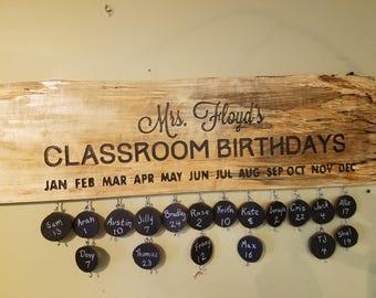 Classroom Birthday Sign - Chalboard slices  (Teacher Appreciation)