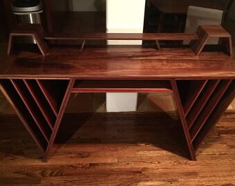 Walnut with Padauk inlay drafters table