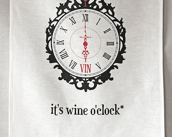 wine o'clock linen tea towel