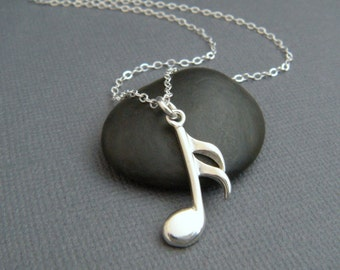 Musical pendant etsy silver music note necklace sterling musical pendant symbol 16th sixteenth note semiquaver simple aloadofball Choice Image