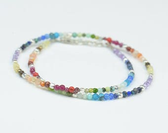7 Chakras gemstones bracelet.Double Wrap.Red,orange,yellow,green,light blue,blue,purple.Seven Chakras