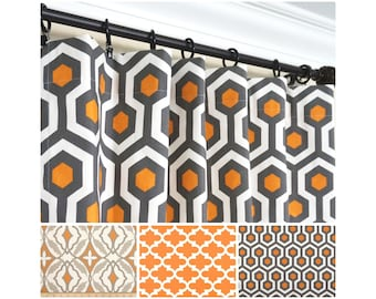 Orange Window Curtains.Grey Curtain Panels.Orange Kitchen Curtains.Moroccan Curtains.Charcoal Gray Curtains.Gray Orange Drapes