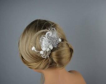 Crystal Wedding Comb, Fascinator, Wedding Accessory, Bridal Crystal Comb, Wedding Rhinestone Hair Comb,  Brooch Hair Comb