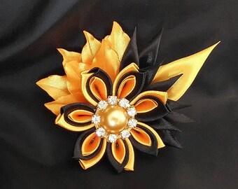 Kanzashi brooch, Fabric brooch, Flower brooch, Black and yellow pin, Fabric flower pin