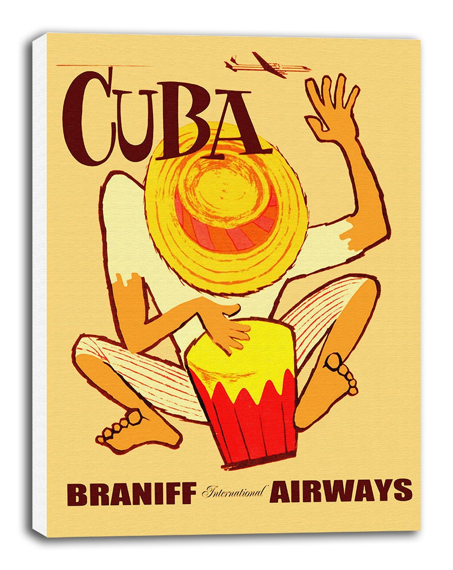 Cuba Art Canvas Cuban Travel Poster Print Hanging Wall Decor