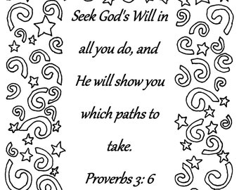 Seek God's Will in all you do... Proverbs 3:6 Bible verse coloring page
