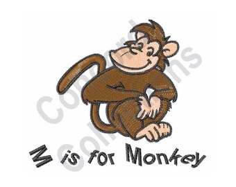 M Is For Monkey - Machine Embroidery Design, Monkey, Letter M