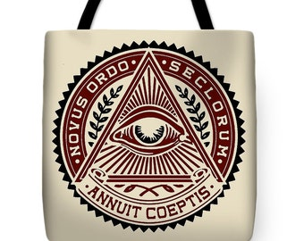 Congress All Seeing Eye Tote Bag - All Seeing Eye Throw Pillow - Congressional Seal Tote Bag Gift - Political All Seeing Eye Tote Bag Gift