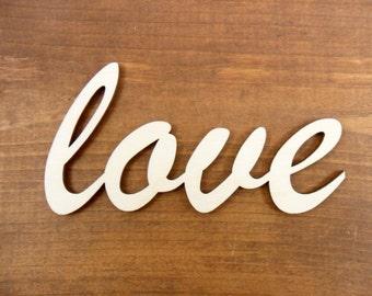 "Wood Love Sign 5"" W x 2 1/2"" H x 1/8"" Laser Cut Wedding Word Sign"
