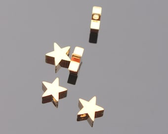 Shiny Gold Tarnish Resistant Medium Star Charm, Pendant, Connectors, Earring Findings, 2 pc, UP905