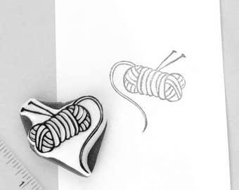 yarn skein stamp with knitting needles