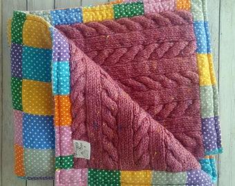 Reversible patchwork blanket, baby blanket, baby shower gifts, nursery blanket, reversible knit blanket, travel blanket