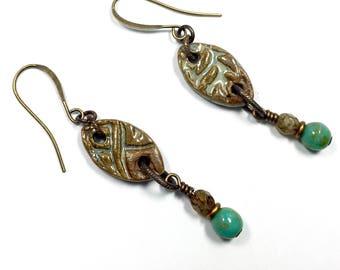Green Art Bead Earrings, Handcrafted Boho Earrings, Dangle Earrings