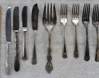 Silverplate Forks Meat Fork Knives Lot of 9 Sheffield Rogers International +