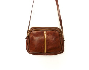 Vintage Small Leather Purse Bag Women / Brown Leather / Crossbody Satchel / 80s 90s