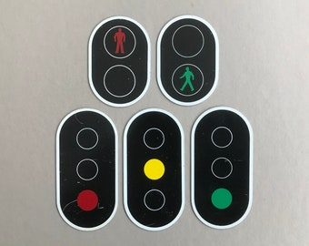 Vintage Dutch educational miniature metal traffic signs, select set: red/green man crossing road or traffic light signal signs. Circa 1970s.
