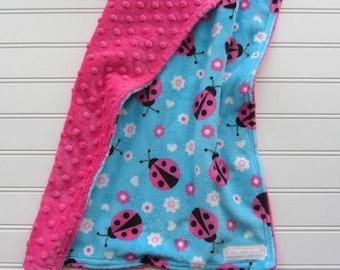 Baby Girl Minky Lovey, Pink Ladybugs Baby Girl Blanket, Double Minky Lovey Blanket, Soft Newborn Lovey, Baby Girl Shower Gift