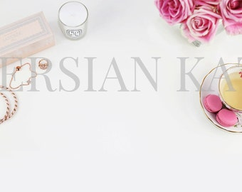 Styled Desktop Stock Photography Image pink, roses, tea, jewelry, girlie photo. Web Design Background, Product Photography, Header Image