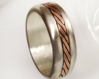 Men's Wedding Band, Rustic Wedding Ring, Rustic Ring, Men's ring, Men's Gift, Gift for him, Sterling Silver and Copper,  RS-1166