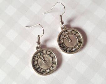 Clock earrings, Vintage clock earrings, Dangle earrings, Pendant earrings, Clock jewellery, Clock, Clock face, Roman numerals, Vintage style