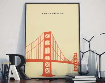 Golden Gate Bridge, San Francisco, Print. Poster.