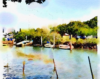Watercolor Print  - Wynnum Creek - Riverscape