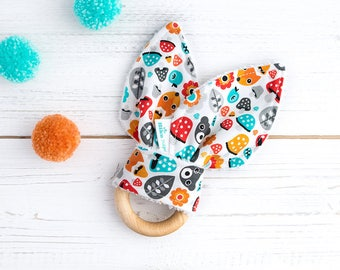Baby Shower Gift  - Baby Gift - Organic Teether -  Wooden Teether - Teething Ring - Montessori Baby Toy -  Little Forest- Multicolour - Gift