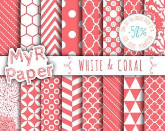 "SALE 50% Coral Digital Paper: ""White & Coral"" Digital Paper Pack and Backgrounds with Chevron, Damask, Triangles, Stripes and Polka Dots"