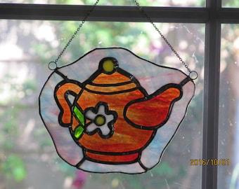 Teapot Stained Glass Suncatcher