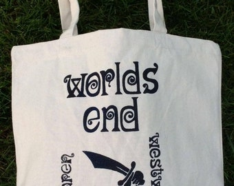 WORLDS END -Punk Bag -  Seditionaries -Westwood McLaren- Born in England -Canvas Shopper Bag -Black or Red print