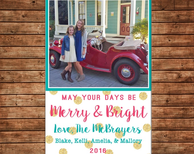 Photo Picture Christmas Holiday Card Merry & Bright Gold Glitter Polka Dot Aqua Coral - Digital File