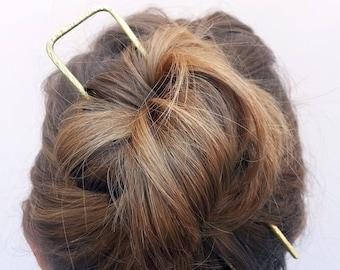 Minimal geometric hair fork Copper hair fork Square hair stick Metal hair pin Long hair Boho accessories Brass Bun holder Women gift For her