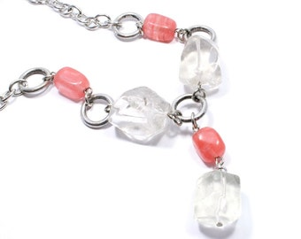 Gemstone Necklace - Rock Crystal and Cherry Quartz Necklace - Gemstone Jewelry - Beadwork Jewelry - Beaded Jewelry - Big Skies Jewellery