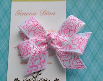 White with Hot Pink Roses MINI Diva Bow