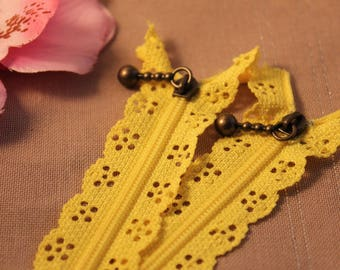 Yellow lace not separable 20 cm x 1 zipper