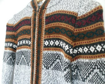 SUMMER SALE -30% !!! Genuine Peruvian Girls (M/L) Zip up Hoodie - Alpaca Wool Sweater, Alpaca Jumper