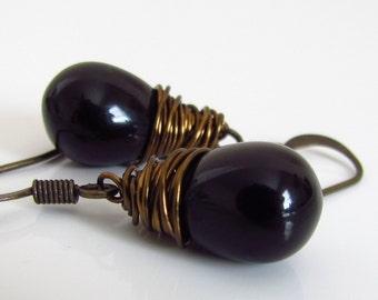 Jet Black Czech Glass Earrings, Antiqued Brass Wire Wrapped Teardrop Earrings
