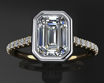 halle ring - 1 carat emerald cut NEO moissanite engagement ring, emerald cut ring