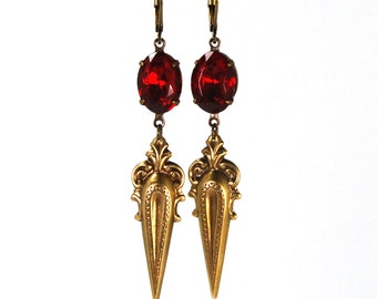 Antique Style Earrings Ornate Victorian Spike Design with Prong Set Ruby Red Swarovski Crystals Darkly Elegant in Antiqued Brass