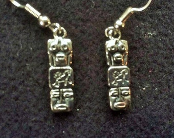 Silver aztec style totem pole drop earrings for pierced ears