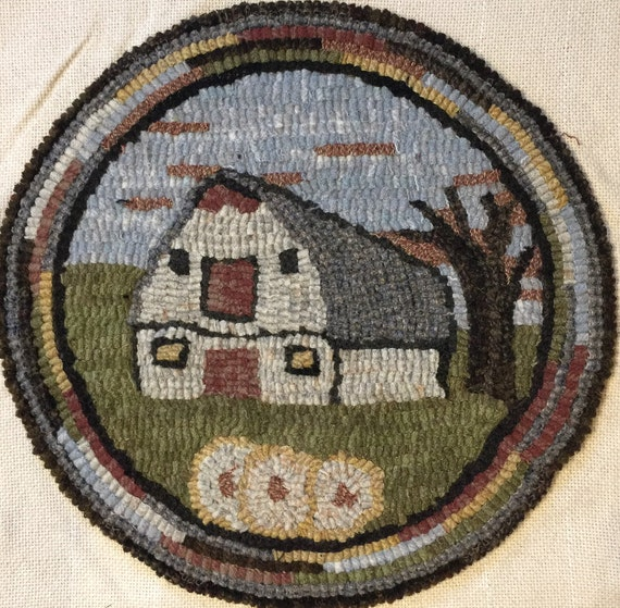 """Rug Hooking Pattern for """"Old Barn #2"""" Chair Pad, on Monks Cloth or Primitive Linen, P136"""
