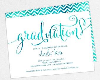 Graduation Invitation, Graduation Announcement, Printable Invite, Invitation PDF, DIY, Printed, Turquoise Blue, Chevron, Watercolor, Lorelai